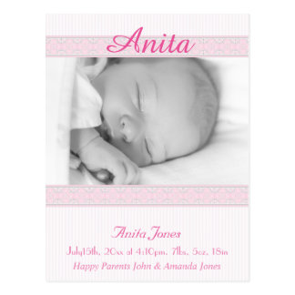Invitación del nacimiento de la foto postal