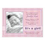 Invitación del nacimiento de la foto (rosa) invitación 12,7 x 17,8 cm