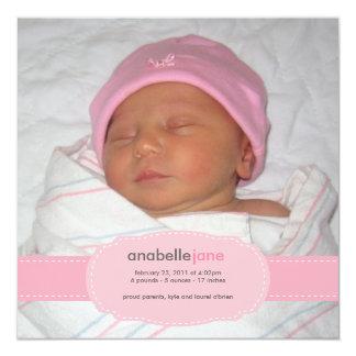 Invitación del nacimiento de la niña invitación 13,3 cm x 13,3cm