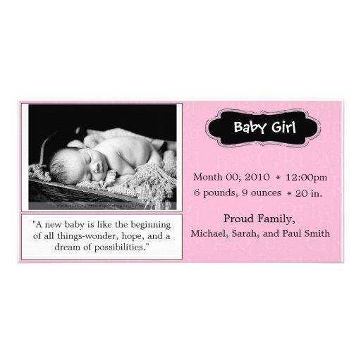 """Invitación del nacimiento de la """"niña"""" del rosa tarjeta fotográfica"""