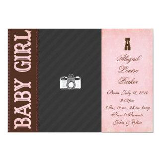 Invitación del nacimiento de la niña del vintage
