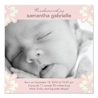 Invitación del nacimiento de la niña - esquinas