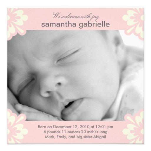 Invitación del nacimiento de la niña - esquinas fl