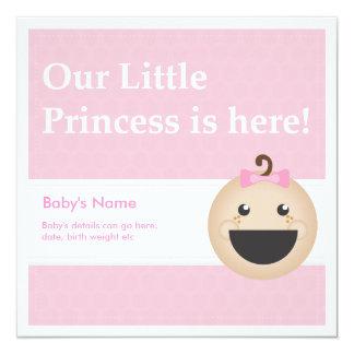 ¡Invitación del nacimiento de la niña! Invitación 13,3 Cm X 13,3cm