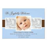 Invitación del nacimiento de las épocas 3 (azul) invitación 12,7 x 17,8 cm