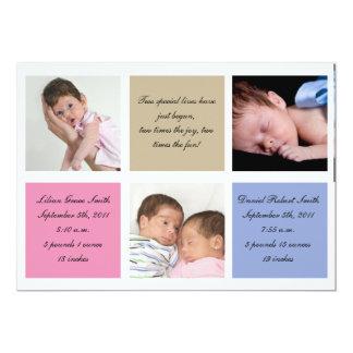 Invitación del nacimiento de los gemelos - chica y