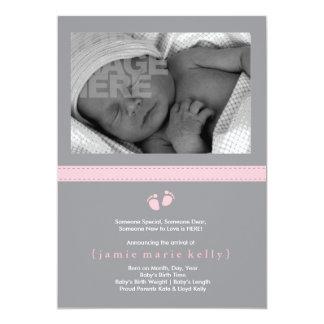 Invitación del nacimiento de los pasos de bebé - invitación 12,7 x 17,8 cm