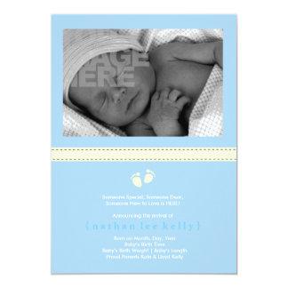 Invitación del nacimiento de los pasos de bebé invitación 12,7 x 17,8 cm