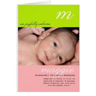 Invitación del nacimiento de Maggie Tarjeta