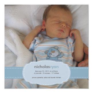 Invitación del nacimiento del bebé invitación 13,3 cm x 13,3cm