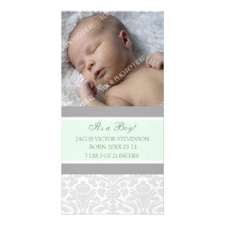 Invitación del nacimiento del bebé de la plantilla tarjetas fotográficas