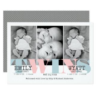 Invitación del nacimiento del bebé de los gemelos
