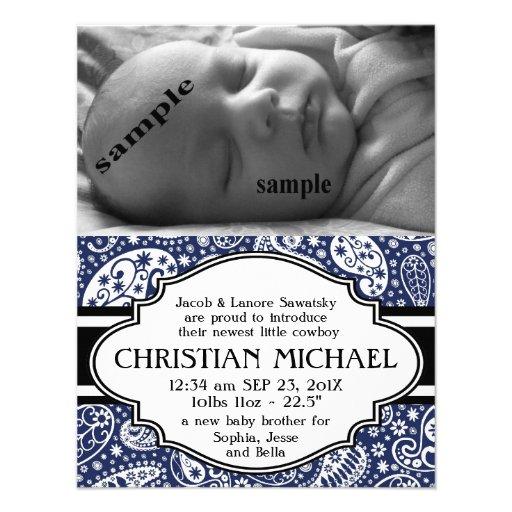 Invitación del nacimiento del bebé de Paisley del