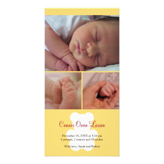 Invitación del nacimiento del bebé del montaje del tarjeta fotográfica