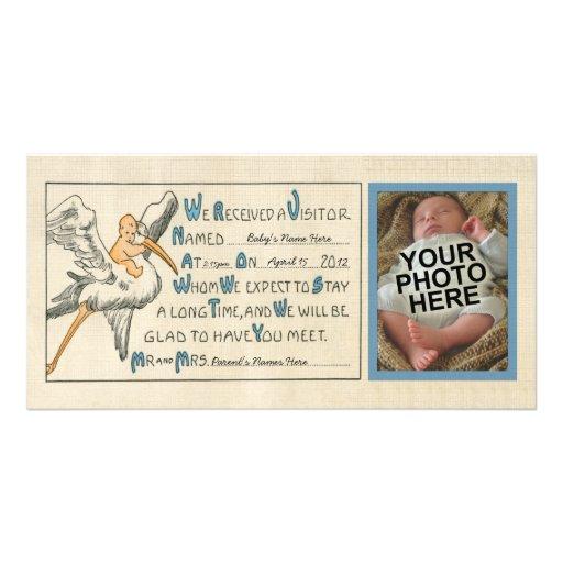 Invitación del nacimiento del bebé y de la cigüeña tarjeta ...