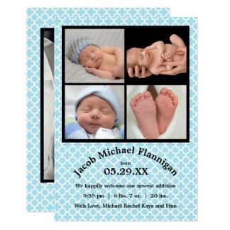 Invitación del nacimiento del muchacho azul -3x5