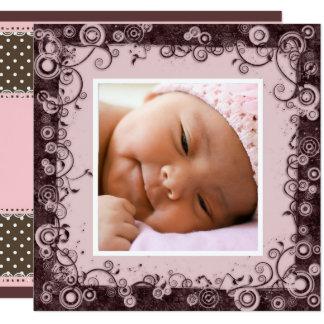 Invitación del nacimiento del rosa y de la niña de