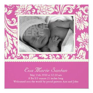 Invitación del nacimiento - floral magenta invitación 13,3 cm x 13,3cm