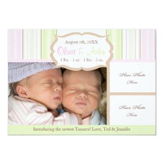 Invitación del nacimiento - gemelos