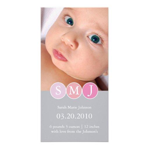 Invitación del nacimiento tarjeta con foto personalizada