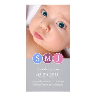 Invitación del nacimiento tarjeta fotografica