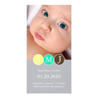 Invitación del nacimiento tarjetas personales con fotos