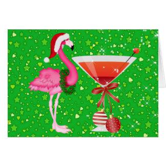 Invitación del navidad del cóctel del flamenco - tarjeta pequeña