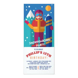 Invitación del niño de la snowboard