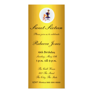 Invitación del oro 16 del dulce dieciséis