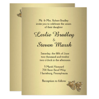 Invitación del oro del boda del teatro