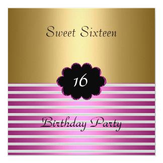 Invitación del oro y del dulce 16 del rosa