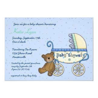 Invitación del oso del carro invitación 12,7 x 17,8 cm