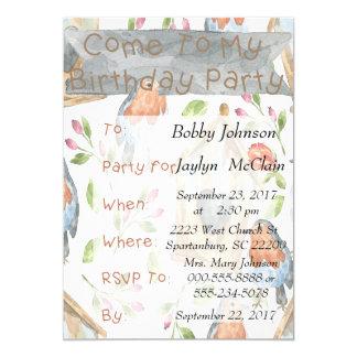 Invitación del pájaro y de la fiesta de cumpleaños