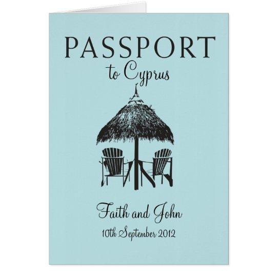 Invitación del pasaporte del boda a Chipre