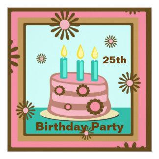 Invitación del personalizado de la torta de cumple