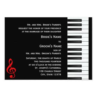 Invitación del piano invitación 12,7 x 17,8 cm