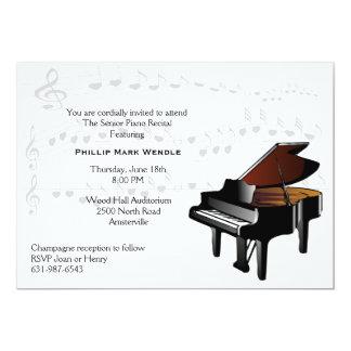 Invitación del piano de piano de media cola invitación 12,7 x 17,8 cm