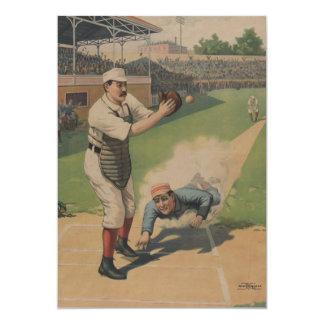 Invitación del poster del béisbol del vintage invitación 12,7 x 17,8 cm