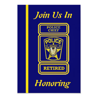 Invitación del retiro del jefe de policía invitación 12,7 x 17,8 cm