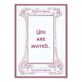 Invitación del rosa del marco de la baya de