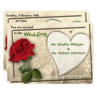 Invitación del rosa rojo y del boda del diseño del