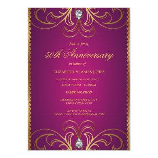 Invitación del rosa y del aniversario de boda del