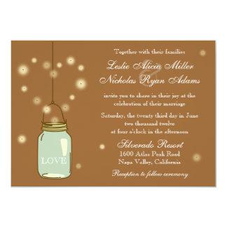 Invitación del tarro de albañil y del boda del