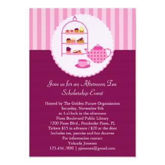 Invitación del té de tarde invitación 12,7 x 17,8 cm
