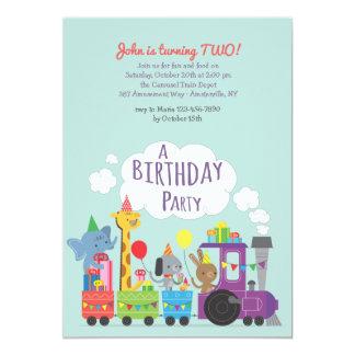 Invitación del tren de la fiesta de cumpleaños