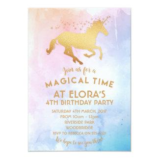Invitación del unicornio, oro del cumpleaños