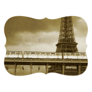 Invitación del vintage de la torre Eiffel Invitación 12,7 X 17,8 Cm