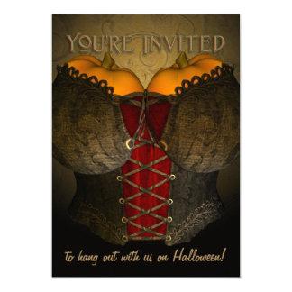 Invitación divertida de Halloween del corsé del