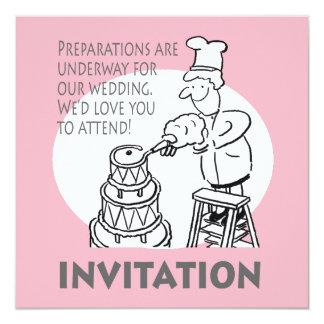 Invitación divertida del boda con el pastel de