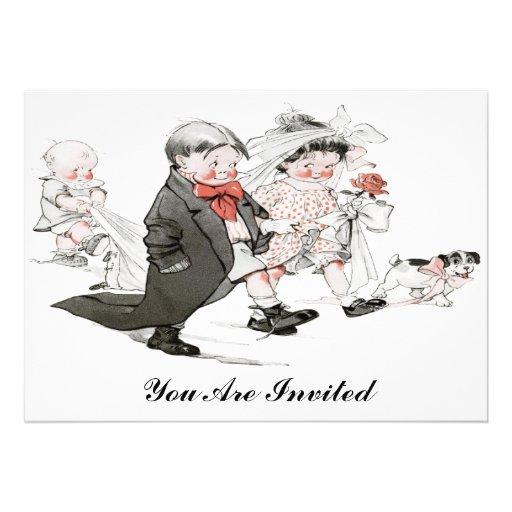 invitación divertida del boda del vintage